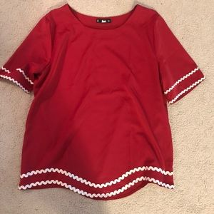 SHEIN red and white blouse size M (never worn)